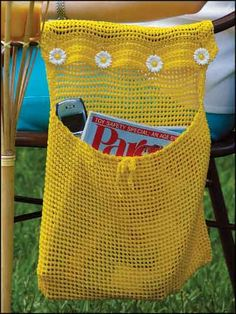 "Crochet a sturdy nylon bag to button over the arm of a chair. Size:12 1/2 x 12 1/2"".Skill Level: Beginner  Designed by Amy Venditti  free pdf from freepatterns.com"