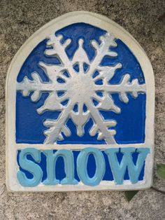 Handcrafted cement Christmas/snowflake wall/indoor/outdoor/yard art/blue/white