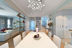 A home in sky blue planned by our Vienna based interior design studio. Dining Room Blue, Himmelblau, Dark Interiors, Blue Bedroom, Interior Design Studio, Blue Design, Living Spaces, Flooring, Table