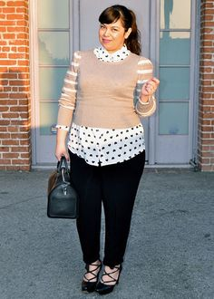 heart print top, striped sleeves