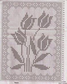 Hoje tem Flor !!!: Tapete em crochê file com gráfico                                                                                                                                                     Mais