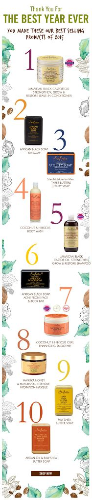 The best year ever! Thank you #SheaFam for all the #shealove you gave in 2015. Here are our Top 10 products. Shop them now on www.sheamoisture.com. #SheaMoisture