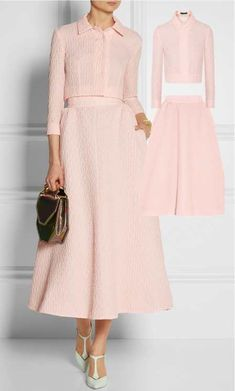 What To Wear To a Christening in Spring 2014. Retro inspired Emilia Wickstead Christian matelassé midi skirt and Emilia Wickstead Kristie matelassé top