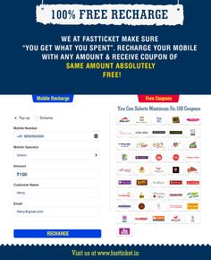 """#FREE Coupons For Everyone… """"Now after every #mobile or #DTH #recharges get #discount coupons of awesome brands for #FREE"""""""