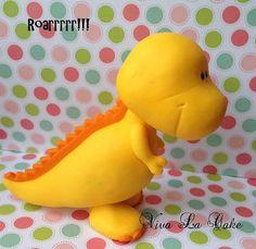 Dinosaurio en fondant para decorar tope de por vivalacakeshop