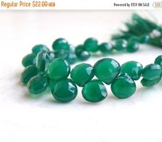 51% Off Green Onyx Gemstone Briolette Faceted Heart 5mm to 6.5mm 28 beads 1/2 Strand by somsstudiosupplies on Etsy