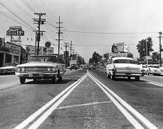 Looking west along the center of Ventura Boulevard from just east of the intersection of Van Nuys Boulevard (ca. 1960)