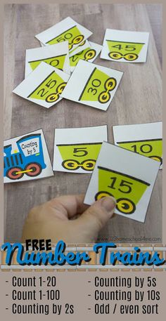 FREE Number Trains: Count to 100 - This printable activity is such a fun counting activities for preschool, prek,, kindergarten, and first grade to practice not only counting to 100, but skip counting by 2s, skip counting by 5s, and skip counting by 10s.
