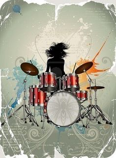 A very cool vector illustration of a girl drummer. Girl Drummer, Female Drummer, Drums Girl, Arte Steampunk, Drum Tattoo, Gretsch Drums, Drum Music, Drum Solo, Drum Lessons