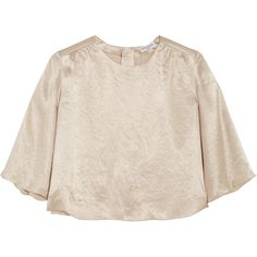 Sonia Rykiel Crinkled-satin top (1.518.190 IDR) ❤ liked on Polyvore featuring tops, blouses, beige, beige top, satin blouse, ruched tops, ruched sleeve top and ruched blouse
