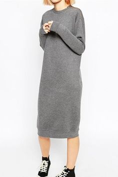 Chic Gray Shoulder Zippered Long Sleeve Pullover Sweatshirt Dress For Women