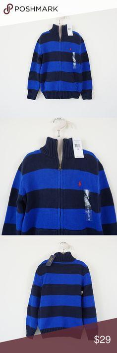 NWT Ralph Lauren Polo Boys LS Striped Half Zip Pullover Sweater Sz 5 6 NEW $50