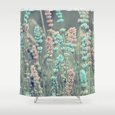 Summer dreams. Shower Curtain by Mary Berg - $68.00 #showercurtans #society6 #flowers #bluepink #homedesign #bathroom #home