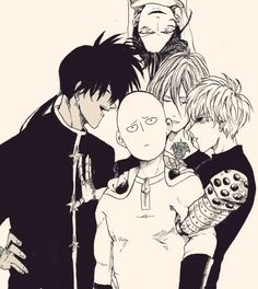 """One Punch Man - Suiryu, Saitama, Genos, Amai Sweet Mask and Sonic <<< I love how Genos is just like """"back off, he's mine"""""""