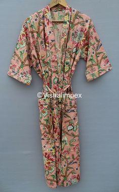 Long Kimono, Kimono Dress, Cotton Kaftan, Maxi Gowns, Collar Styles, Vintage Cotton, Types Of Sleeves, Printed Cotton, Sleeve Styles