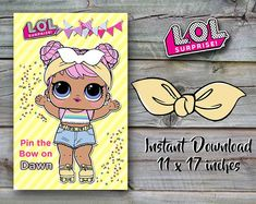 LOL Surprise Doll Confetti Pop Birthday Party - Pin the Bow on Dawn - 11 x 17 inch - INSTANT DOWNLOAD
