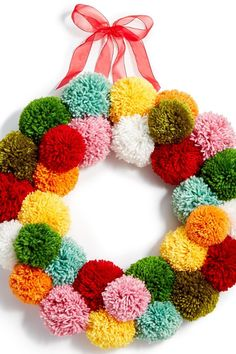 Holiday Lane Yarn Ball Pom Pom Wreath, Created for Macy's. This is an affiliate link Wreath Crafts, Craft Stick Crafts, Yarn Crafts, Crafts For Kids, Decor Crafts, Valentine Decorations, Christmas Decorations, Pom Pom Wreath, Boyfriend Crafts