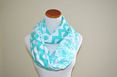 Tiffany Blue Mix Damascus and Chevron infinity soft jersey loop scarf-Ready to ship