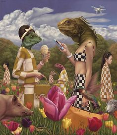"""Artist: Alex Gross """"Sunday in the Park with Reptilians"""" Oil on Canvas x """"Here's a brand new painting from my upcoming show at COREY HELFORD GALLERY on february """"Sunday in the Park with. Surrealism Painting, Pop Surrealism, Artist Painting, Fantasy Kunst, Fantasy Art, Illustrations, Illustration Art, Collage Art, Collages"""