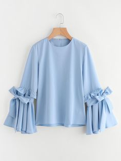 SheIn offers Frilled Bow Tie Trumpet Sleeve Top & more to fit your fashionable needs. Muslim Fashion, Hijab Fashion, Fashion Dresses, Modest Fashion, Maxi Dresses, Women's Fashion, Mode Abaya, Mode Hijab, Kids Frocks Design