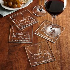 Personalized Home State Glass Coaster Set - Personal Creations Gifts Cute Coasters, Wedding Coasters, Glass Coasters, Personalized Bridal Shower Gifts, Personalized Wine Bottles, Personalized Coasters, Vinyl On Glass, Glass Art, Etched Gifts