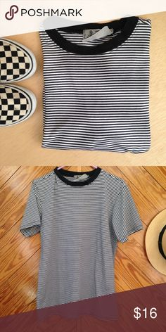 B o y f r i e n d s t r i p e   t - s h i r t w e l c o m e  t o  m y  c l o s e t   Men's small stripe tee, but a good oversized S for women's. Listed under women's S.  EUC  - worn few times, but no flaws.  Measurements available upon request.    All reasonable offers welcomed.                    question/unsure? let's talk.                    💌same day or next day shipping  Thanks for looking👀, liking👍, and sharing💕 Tops Tees - Short Sleeve