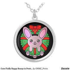 Cute Fluffy Happy Bunny in Pretty Wreath Silver Plated Necklace #Onmeprints #Zazzle #Zazzlemade #Zazzlestore #Zazzleshop #Zazzlestyle #Cute #Fluffy #Happy #Bunny #Pretty #Wreath #Silver #Plated #Necklace Black Felt, Pendant Jewelry, Christmas Time, Silver Plate, Unique Gifts, Merry Christmas, Plating, Bunny, Wreaths
