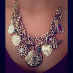 Stephan & Co Vintage Style Charm Cluster Necklace Antique gold tone with gorgeous, detailed charms. High quality and style statement necklace. NWT. 16 inches. Stephan & Co. Jewelry Necklaces