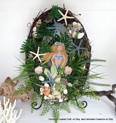 Mermaid art_Mermaid Starfish & Sea Shell by CarmelasCoastalCraft