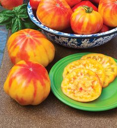 Beefsteak Tomato Seeds MR STRIPEY Price for Package of 5 seeds. Stripey (sometimes confused with Tigerella) is a type of heirloom tomato with unusual Tomato Garden, Tomato Plants, Planting Vegetables, Fruits And Vegetables, Vegetable Gardening, Culture Tomate, Colorful Fruit, Yellow Fruit, Growing Tomatoes In Containers