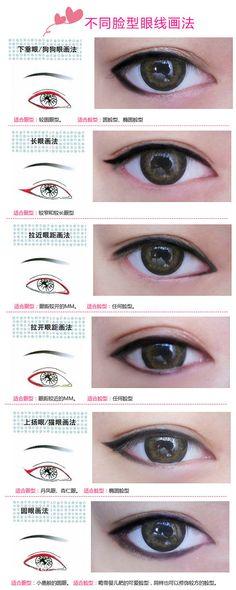 美妆课堂 - 顽兔. eyeliner for different face shape.