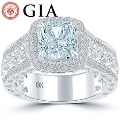 4.81 Carat GIA Certified Fancy Blue Diamond Engagement Ring 18k White Gold - Thumbnail 1