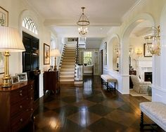 Elegant Entry Design with unique floor design Design Entrée, Floor Design, Design Ideas, Design Trends, Design Inspiration, Entry Hallway, Hallway Ideas, Entry Stairs, Long Hallway