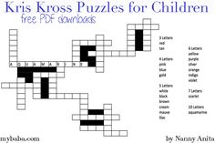 Kris Kross Puzzles for Children Writing Activities, Educational Activities, Kris Kross, White Letters, Free Downloads, Sensory Play, Phonics, Fun Things, Puzzles