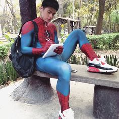 Men and boys in tights and tight lycra/spandex gear. Black Butler Undertaker, Men In Tight Pants, Spiderman Costume, Male Cosplay, Baby Coming, Sport Wear, Sensual, Cute Boys, Sexy Men