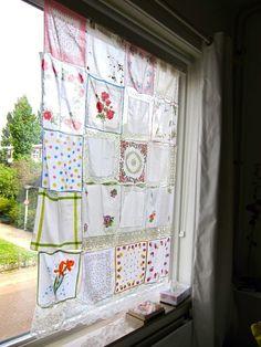 vintage handkerchief curtain