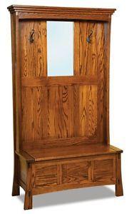 Amish-Wood-Hall-Tree-Storage-Bench-Mirror-Hallway-Entryway-Seat-Oak-Coat-Trees