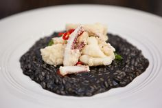 Risotto Nero with Calamari Fritti Calamari, Fine Dining, Risotto, Town Hall, Dishes, Ethnic Recipes, Rest, Food, Play