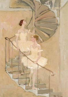 Katya Gridneva dancers on a spiral staircase