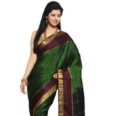 Green Pure Kanchipuram Handloom Silk Saree with Blouse