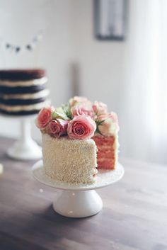 Beautiful flowers on top of cake