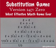 Introducing zero for the first time and playing the substitution game with zero. I haven't found a more effective or versatile math game yet. Math Class, Fun Math, Math Games, Math Activities, Primary Teaching, Teaching Math, Primary School, Teaching Ideas, Math Genius
