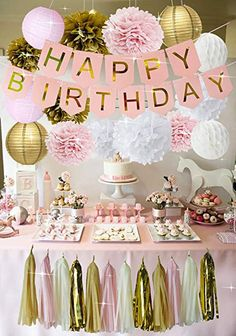 Rose Gold Birthday Decorations - Pink Birthday Banners, Pink Girls Birthday Party Kit Decorations, Rose Gold Roses and Lanterns Sets, Pink Tassel, Pink Happy Birthday, Birthday Party For Teens, Golden Birthday, Pink And Gold Birthday Party, Pink Gold Party, 15th Birthday, 13th Birthday Parties, Birthday Themes For Girls, Classy Birthday Party