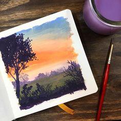 Watercolor Journal, Watercolor Paintings Abstract, Watercolor Drawing, Painting & Drawing, Watercolor Scenery, Gouche Painting, Arte Sketchbook, Guache, Cool Art Drawings