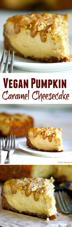 Vegan Pumpkin Cheesecake with Crumble Topping and Caramel Drizzle.