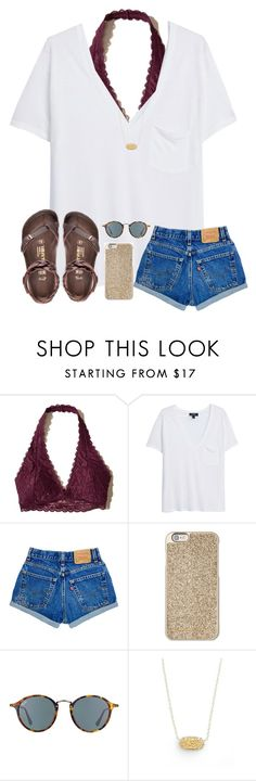 """ready 4' summer "" by arieannahicks ❤ liked on Polyvore featuring Hollister Co., MANGO, Birkenstock, Michael Kors, Ray-Ban and Kendra Scott"