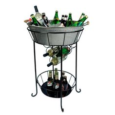 Perfect for your next outdoor soiree or family barbecue, this lovely steel party station showcases a 6-bottle wine rack, galvanized metal tub, and lower disp...