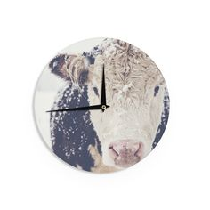 Kess InHouse Debbra Obertanec 'Snowy Cow' Black White Wall Clock