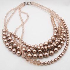 Handmade swarovski pearl crystal multiple necklace by M. Young Poco a poco Gnuel #Pocoapoco