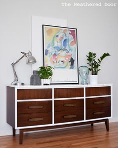 Gloss white and java mid century dresser WD-2
